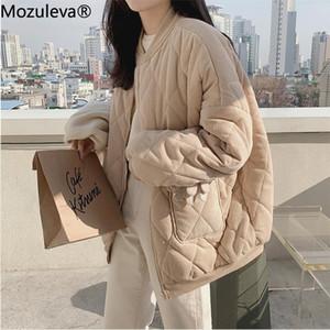Mozuleva Neue 2020 Herbst Winter Frauen Jacken V-Ausschnitt Puffer CordAly Parkas Hochwertiges warmes Übergröße Vintage Wild Mantel