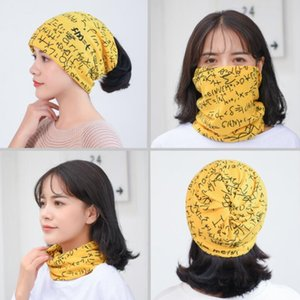 1PC Winter Multifunction Knitted Hats for Women Sleeve Cap Letter leopard Print Beanies Hat Female Ring Scarf Hip Hop Cap