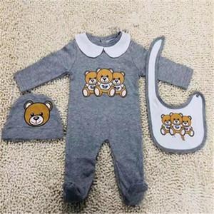 Neugeborene Babykleidung Set Nette Kind Baby Jungen Brief Strampler Baby Mädchen Jumpsuit + Lätzchen + Kappen Outfits Set