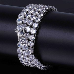 Free Shipping 3mm 4mm 5mm Iced Out 1 Row Tennis Chain Hip hop Jewelry Gold Silver Copper Material Men CZ Necklace