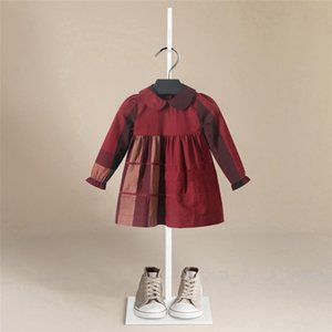 Spring Girl Dress Cotton Long Sleeve Children Dresses lattice stripe Kids Dresses for Girls Fashion Girls Clothing bebe F1130