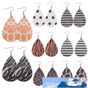Women Fashion Waterdrop PU Leather Dangle Earring Personalized Design Leopard Zebra Stripes Double Side Jewelry Statement Earrings