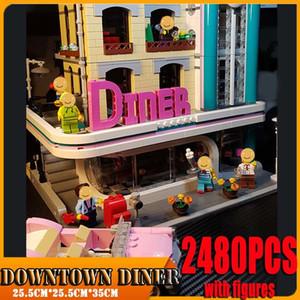 2480PCS City Street Downtown Diner Building Blocks Bricks Figures Toy Model Cute