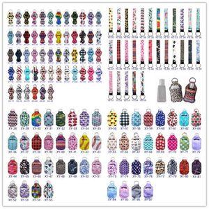 Reise Keychain Inhaber Kits, einschließlich 30 ml Hand Sanitizer Flasche + Flaschenhalter Keychain, Armband schlüsselanhänger Lanyard, Chapstick Holder