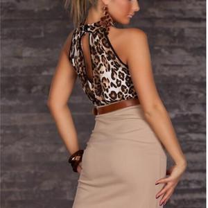Сексуальные женщины Clubwear Платья Halter Leopard Casual с ременькой шеи Bodycon без бретелек платье