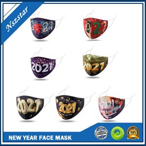 New Year 2021 Face Mask Male Female Dustproof Mouth Cover Fashion Printing Reusable Washable Outdoor Masks for Adults Men Women