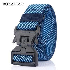 Bokadiao hombres cinturón de combate elástico elástico nylon cinturón plástico hebilla cinturones tácticos entrenamiento al aire libre cintura correa masculina