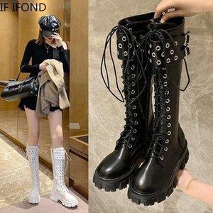 Если IFond Chunky Platform PU кожаные водонепроницаемые колен высокие сапоги панк стиль женские туфли Запатос де Муйер Запатос1