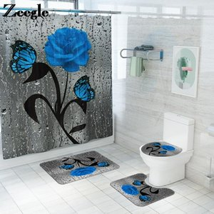 Flower Printing Bath Mat and Microfiber Shower Curtain Set Bathroom Carpet Anti Slip Mats for Bathroom Water Absorbent Rug Set