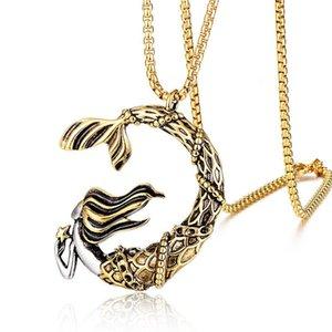 Wukaka en acier inoxydable sirène collier de la chaîne punk garçon pendentifs colliers pour cadeaux hip hop homme bijoux