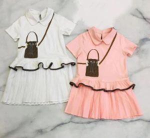Free shipping high quality 2021 newest white and pink Baby Girl summer Children Dress short Sleeve Princess Dresses girls dress kids beautif