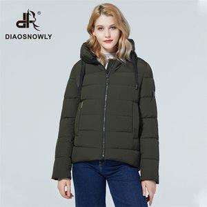 Diaosnowly New Woman Fashion Jacket and Parka para Mulheres Quente curto Outwear Casaco com capuz Inverno roupas 201210