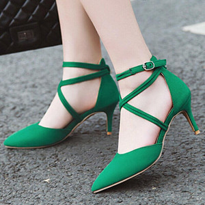 Hot Sale-Women's Fashion Pumps Shoes Cross Strappy Ankle Strap Pointed Toe Sexy Stiletto Kitten HighHeel Party Dress Shoes