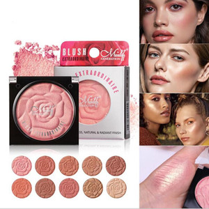 2021 New 10 Color Petals Blush Monochrome Blush Glitter EyeShadow Powder Diamond Shine Rouge Natural Lasting Conceal Matte Pearl Cosmetic