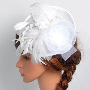 Hot Sales 2020 Bonnet fFemme Flower Net Feather Fascinator Big Headband Wedding Bridal Women Party Hat