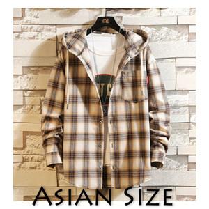 Privathinker Erkek Streetwear Kapşonlu Uzun Kollu Gömlek Erkek 2020 Autum Nedensel Cep Ekose Ceket Artı Boyutu Pamuk Gömlek C1222