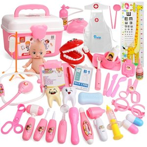 21-39PCS Kids Pretend Play Toys Doctor Set Simulation Medical Kit With Portable Suitcase Girls Role Play Toys Dentist Tool LJ201214