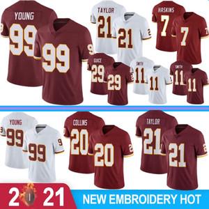 99 Chase Young Homens Jerseys de Futebol 21 Sean Taylor 7 Dwayne Haskins 20 Landon Collins Stitched Jerseys Novo 2021