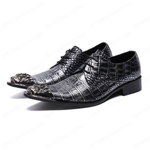 Snake Skin Genuine Leather Men Business Shoes New Fashion Large Size Lace up Metal Square Toe Formal Dress Shoes