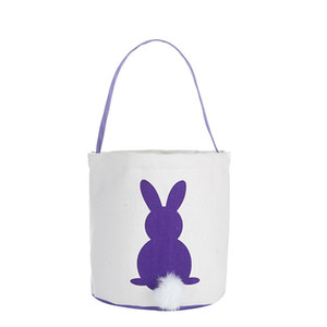 Easter Rabbit Basket Easter Bunny Bags Rabbit Printed Canvas Tote Bag Egg Candies Baskets 4 Colors PPD3332