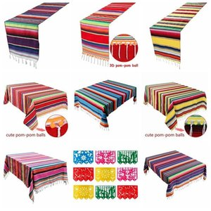 OurWarm Mexican Party Supplies Serape Cotton Tablecloth Table Runner Felt Banner Paper Fan for Wedding Birthday Party Decoration 200929