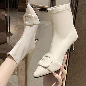 Женщины Boots Бежевый Белый Toe Остроконечные Ботильоны Кожа PU Sexy Stiletto За Zipper 2020 Новая мода Solid Color Женский