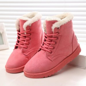 2021 Women Snow Boots Winter Flat Lace Up Platform Ladies Warm Shoes New Flock Fur Women's Suede Ankle Boots Female Black Boots