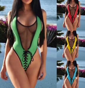 Knit Net Sexy Women One Piece Swimsuit High Waist Sheer Mesh Patchwork Swimwear Transparent Backless Slim Bodysuits
