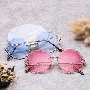 OLOEY Multi-color plum-shaped metal frameless sunglasses elegant ladies sunglasses ocean slices Fashion Beach