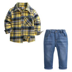 2pcs si adatta per bambini ragazzi vestiti set in cotone bambino plaid camicia + jeans primavera autunno bambini ragazzi set abbigliamento per bambini