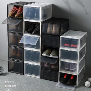 Утолщенные пластиковые спортивные ботинки пылезащитные ящики для хранения прозрачные кроссовки стекируемые органайзер внутренняя коробка выставочный кабинет черный белый