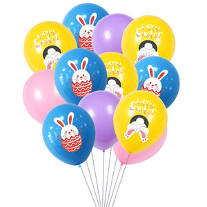 Happy Pâques Lapin Print Ballons Latex Air Ballon Enfants Dessin animé Ballon Ballon Ballon Partie de Pâques Décoration Festival Festival Festival Fournitures Toys G10703