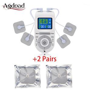 12 طرق عشرات العشرات الكهربائية آلة عشرات وحدة الجسم مدلك الإغاثة آلام EMS تحفيز العضلات مع 2 أزواج منادات القطب 1