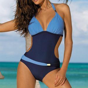 Swimwear Women Plus Size One Piece Swimsuit 2021 Push Up Monokini Bathing Suit Women's High Cut Swim Suit V neck Halter