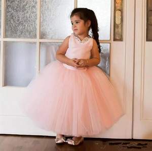 2018 Cute Blush Pink Tulle Ball Gown Flower Girls Dresses For Wedding Beads Ankle Length Evening Party CFormal Dress