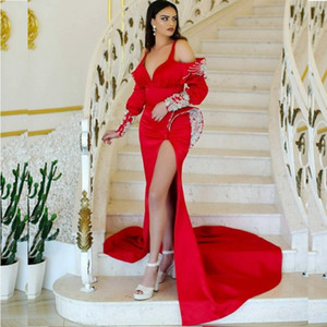 Red Sexy Side Split Prom Dresses Off The Shoulder Beads Sequins Peplum Mermaid Evening Dress robe de soirée de mariage