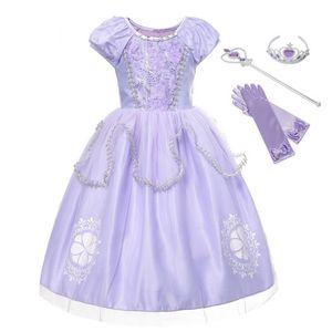 Muababy Girls Sofia одеваются фантазии слоеного рукава цветочные бисеры София Костюм принцессы Хэллоуин Детские партии платья F1202