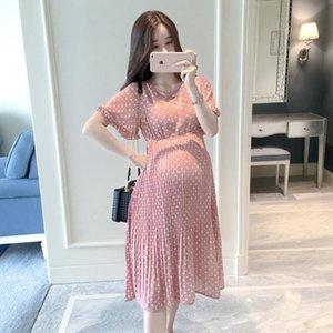 Short Sleeve V-neck Dot Pregnancy Dress Maternity Summer Dresses Chiffon Dresses Maternity Clothing For Pregnant Women