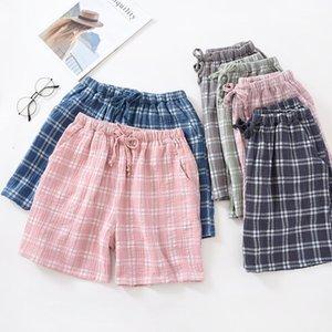 Fdfklak coppia pigiama estate pantaloni dormire donna in cotone garza pantaloncini casual plaid uomo e donne pantaloni domestici pigiama bottoms1
