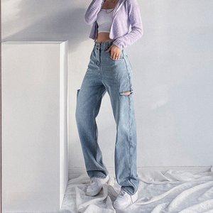 Europe Chic Hole Women's Denim Jeans Spring European BF Wind Loose Ripped Legs High Waist Wide Leg Trousers LDX8 J1207