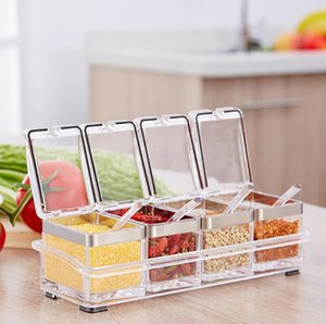 Seasoning Rack Spice Pots-4 Piece Acrylic Seasoning Box,Stainless Steel Ring-Storage Container Condiment Can Jars-Cruet with Cover and Spoon