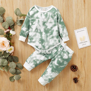 Toddler Kid Baby Boys Girls Clothes Tie-dye Print Casual Ribbed Knitted Long Sleeve Rompers Pants Hats Set Outfits Kids Clothing