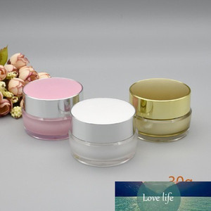 10pcs lot 5g 10g 20g 30g White Pink Gold Empty Refillable Cream Acrylic Jar Plastic Cosmetic Packaging Bottle for Makeup Product