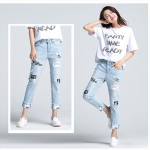 2019new Summer Letter Print Ripped Women Jeans Boy Friend Casual Hole Jeans For Women European Style Ladies Ankle Length Pants