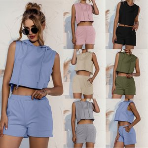 2021 spring and summer new hooded sleeveless stitching lace up pocket casual vest Shorts Two-piece sets fashion Solid color Slim casual Suit