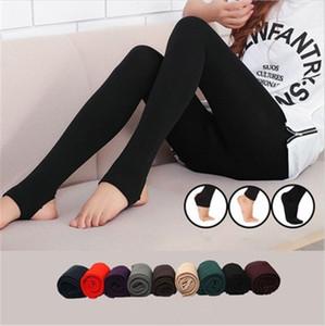 Mulheres skinny leggings calças moda tendência desgaste externo engrossar calças escovadas inverno novo nove pontos romper pisando no pé