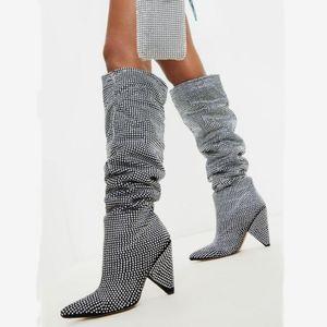 Bling Diamonds Ornament Spike Chunky Heel Slip Simple Slip On Boots Winter Knee Boots High Luxury Tamaño 43 para mujeres