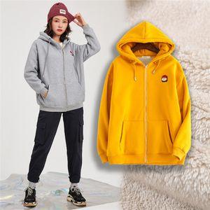 Hot Sale 2020 Fashion Winter New Plus Size Women's Bear Embroidered Jacket Cardigan Loose Lamb Wool Student Sweatshirt Female Trendy
