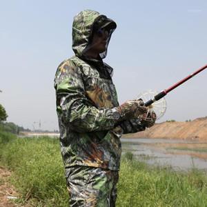 Sommer ultradünne Blatt Bionic Camouflage Anzug Anti-Moskito Angeln Jagdkleidung Taktische Ghillie Anzüge T-Shirt Hosen Set1