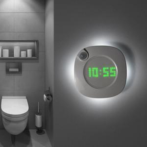 Motion Sensor LED Light Night Clock Bedroom Magnet Digital Wall Clock Bathroom Night Watch Gravity Sensor Lamp For Night Y1125